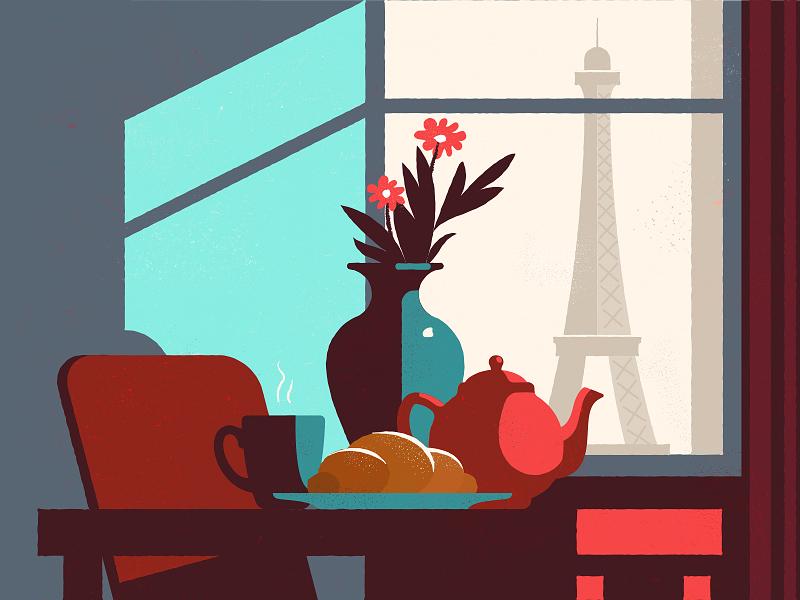 Morning flowers eiffeltower illustration coffee tea croissant breakfast morning