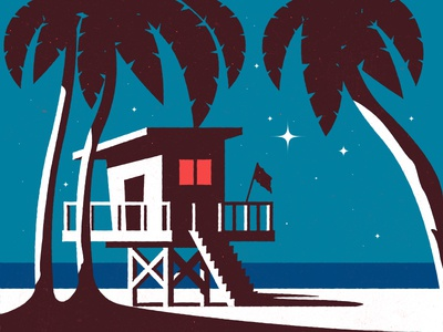 Summer Night sand tree palmtree spring home star illustration beach ocean sea night summer