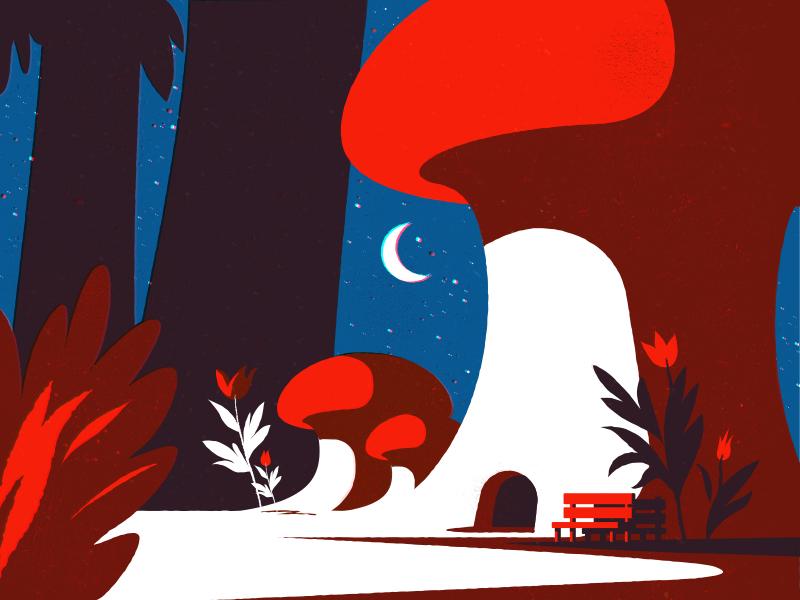 Magic Forest stars moon spring mushroom illustration magic forest