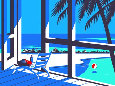 Holiday sunglasses palm tree winter water swimmingpool sea holiday illustration summer
