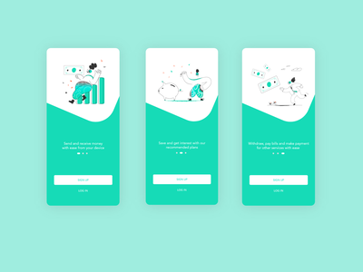 Simple mobile onboarding screens finance app onboarding onboarding ui interface design mobile app design app design user interface mobile ui design uiux user interface design ui design