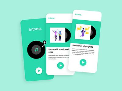 Intone - onboarding screens uidesign appui design illustration figmadesign conceptdesign uiux appdesign uiuxdesign adobexd