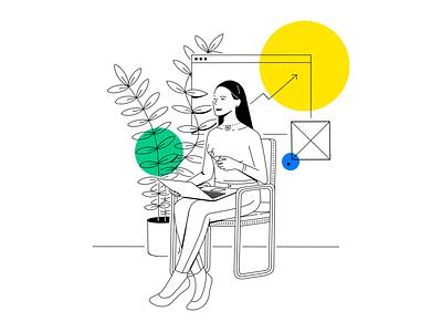 Untitled design tech procreate white black line simple clean laptop plant chair sitting woman illustration