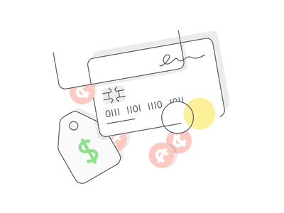 Accepting Payment price tag vector payment change chip signature money credit card illustration