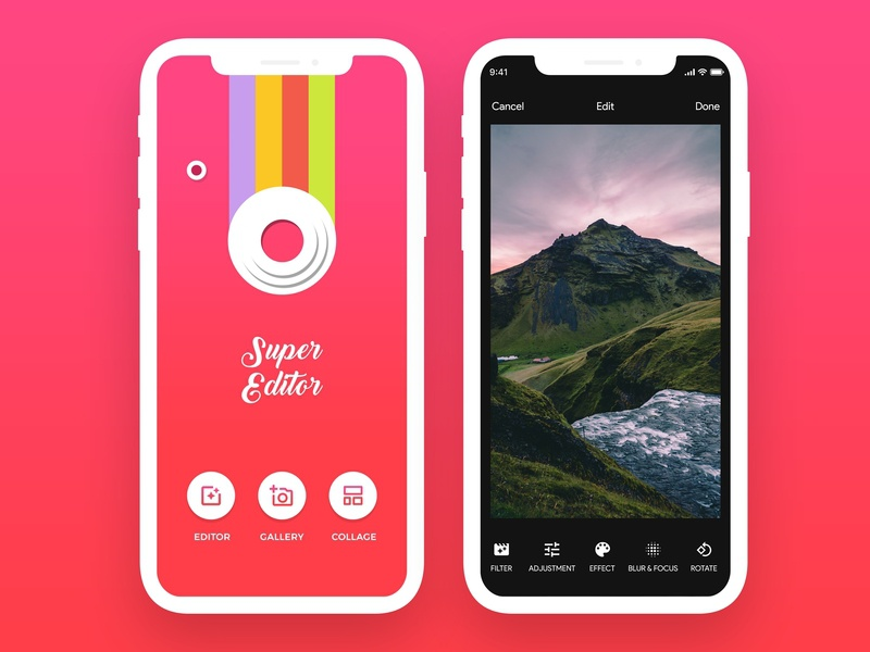 Photo Editor iOS App filter effect camera editor photo ios mockup ui app