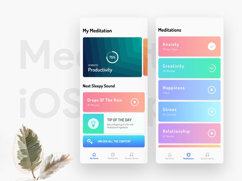 Meditation iOS App iconography illustration app design clean dailyui best design minimal nature colorful ux tension meditation app gradient abstact ui ios meditation