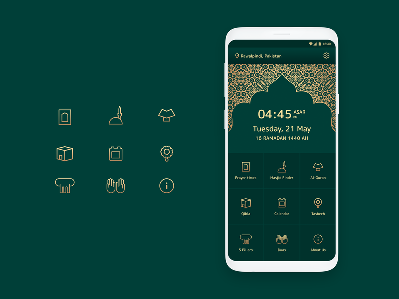 Another approach Home Screen Navigation islamic art illustration dua kaaba quran prayer salat islamic icon design iconography icon set ui android app