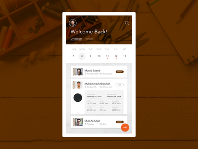 Tailoring App: Tailor Side Home Screen
