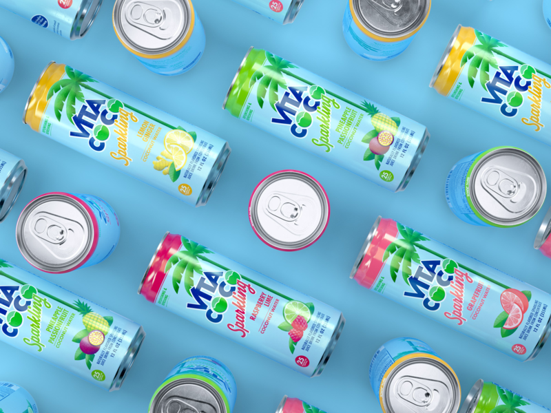 Vita Coco Sparkling can tropical drink packaging branding packaging design