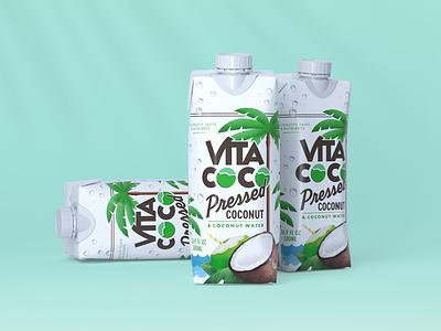 Vita Coco Pressed branding graphicdesign palm tree vintage script tropical product design beverage packaging drink beverage coconut