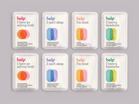 Help Remedies Packaging Single Serve branding friendly package design packet product design healthcare medicine packaging overlay minimal design minimal