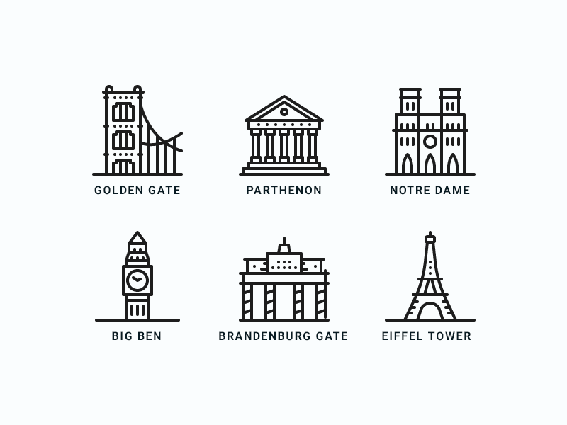 Famous Landmarks Icons golden gate parthenon notre dame wonders world travel design minimal line tourism icons landmarks