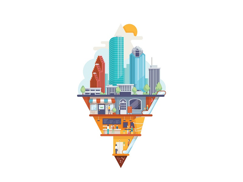 The mysterious tunnel system of downtown Houston vector illustration houstonia
