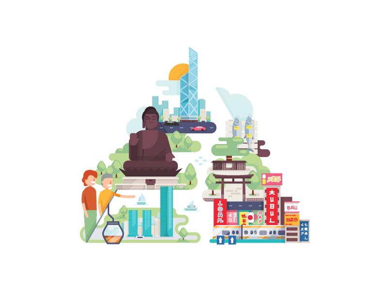 Hongkong and Tokyo vector illustration houstonia
