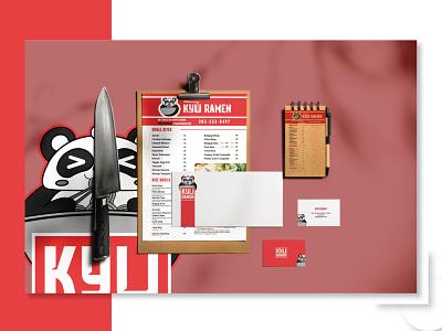 Ramen Stationary Design flyer menu design panda logo ramen logo asian food brand identity stationary graphic design vector restaurant logo food logo design versatile logo logo branding