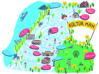 Illustrated map, city guide izmir guide city illustration illustrated map