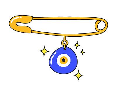 Nazar bead blue amulet illustration sticker snapchat