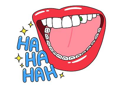 Hahaha lol lips mouth laugh laughing illustration turkey stickers set sticker snapchat