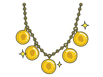 Golden Necklace golden gold necklace illustration turkey stickers set sticker snapchat