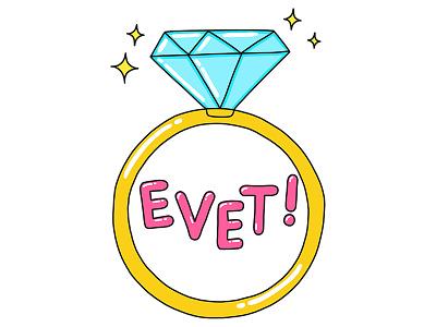 Ring yes wedding ring illustration turkey stickers set sticker snapchat