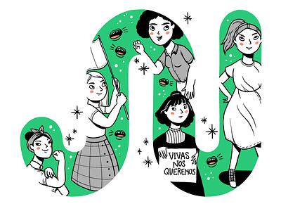 Joinnus 8M illustration social media branding procreate vector characters design art internationalwomensday feminism feminist international womens day 8m