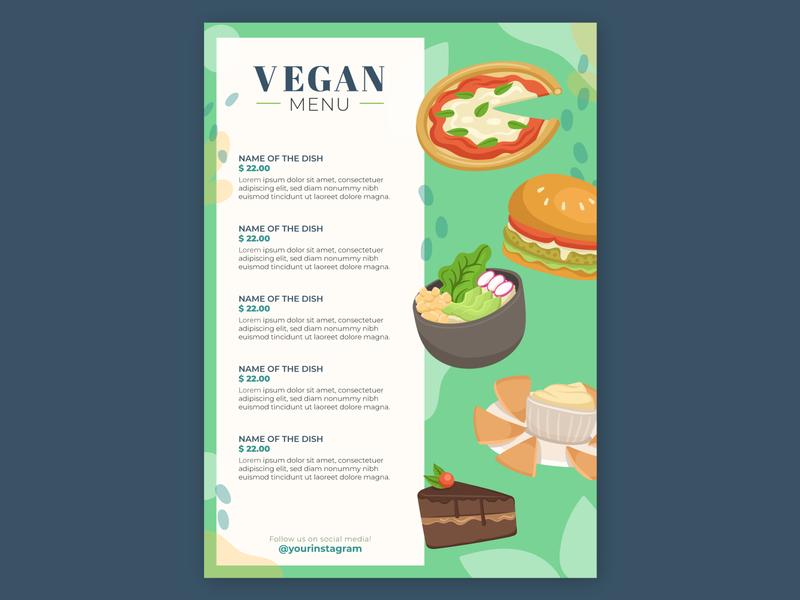 FREEPIK Vegan Menu burger menu chocolate cake pizza logo burger pizza vector art vector illustration menu restaurant vegan flat branding vector 2d art direction art illustration design