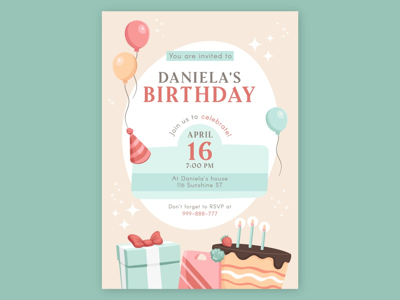 FREEPIK Happy Birthday Card birthday invitation invitation birthday card birthday freepik branding vector art direction art illustration design