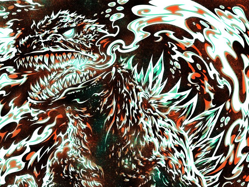 Gojira Final illustrator photoshop texture halftone drawing gojira illustration digital process screenprint silkscreen gig poster