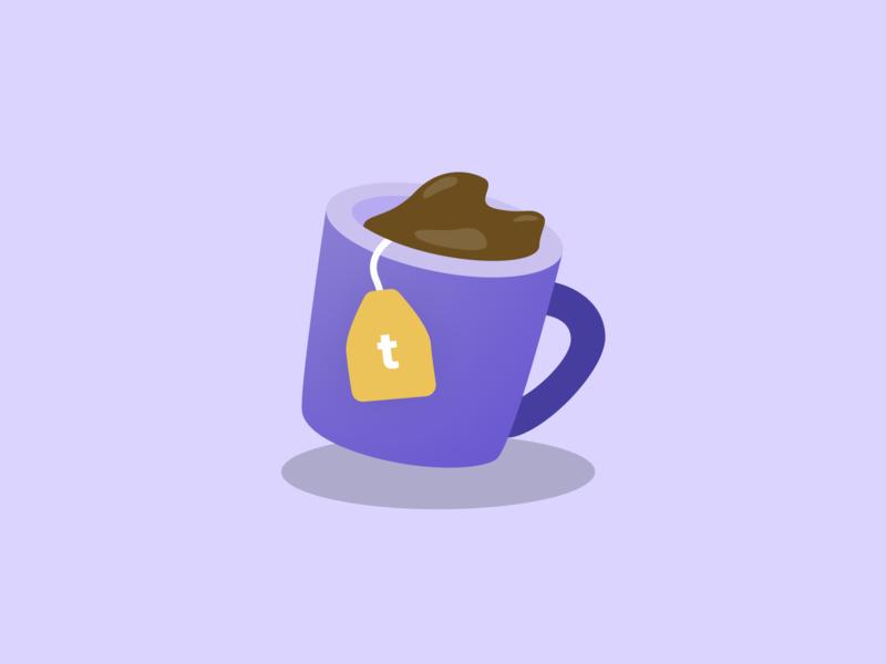 mug of tea purple mug tea vector illustration flat
