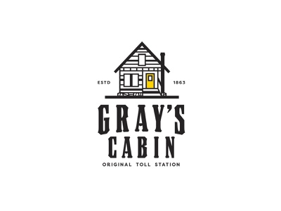 Gray's Cabin typography olab illustration tool station old cabin truckee sign cabin logo