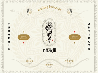 naadii turmeric homeopathic medicine packaging snakes drawing illustration line art branding logo flash sheet