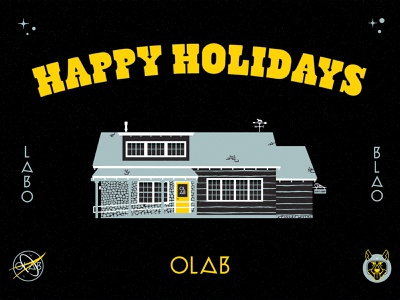 OLAB Holiday typography astro space dog grays cabin nasa olab space christmas holiday truckee cabin vector design illustration