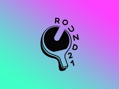 Round 21 action ball paddle colorful gradient games ping pong logo illustration