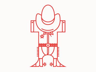 Ranger letter outlaw sherif typewalk aiga funny t type illustration line art red cowboy