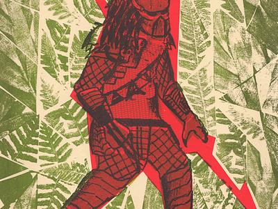 Villian 02: Predator  predator alien red green jungle photocopy silkscreen versus villain