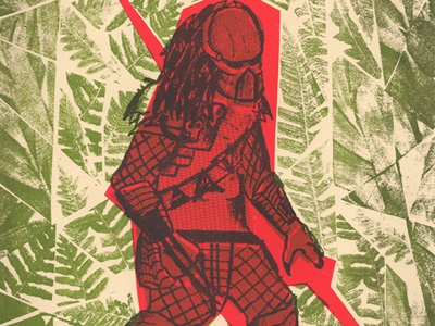 Villian 02: Predator  predator alien red green jungle photocopy silkscreen versus villain