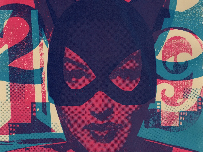Villain #6 Catwoman  versus catwoman cat woman process cyan magenta purple blue silk screen screen print