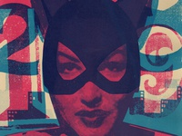 Villain #6 Catwoman  versus catwoman cat woman process cyan magenta purple blue silk screen screen print