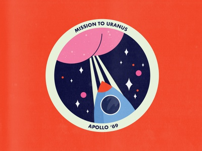 Another very serious mission patch illustrator mission patch orange design illustration vector pink weekly warm up dribbbleweeklywarmup