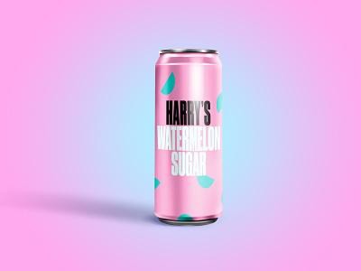 Harry's Watermelon Sugar harry styles pink design sugar beverage can soda can drink fizzy drink soda illustrator weekly warm up dribbbleweeklywarmup