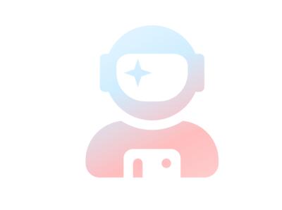 Astronaut  Icon (Light) white pink cyan blue simple clean colorful logo design art web minimal logo icon graphic flat design spaceman astronaut graphic design
