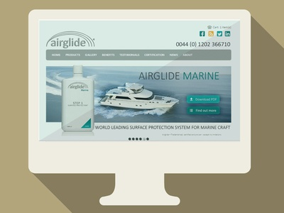 Airglide Marine web site marine ocean flat slider airglide website design boat iconic bottles icons