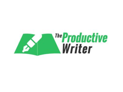 Writer Logo silhouette grey green 2-tone simple writer logo