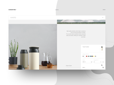 Kinto (Product Landing Page) - Conspire - 04 e-commerce website design ux ui interaction minimal shopify theme drinkware coffeeware teaware