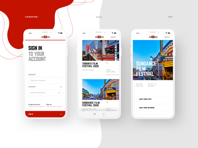 Scout (Mobile App) - Conspire - 02 design whitespace sundance film festival scouting app mobile minimal interaction design film
