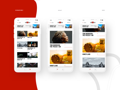 Scout (Mobile App) - Conspire - 03 app interface ux clean ui typography layout design whitespace sundance film festival scouting app mobile minimal interaction design film