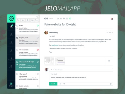 Jelo Mail App [free PSD] web design ui ux application mail download free freebie psd app interface