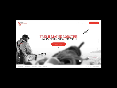 Cousins Maine Lobster® - 01 scroll interaction animation parallax boat portland template website web design design ux landing clean ui typography layout minimal