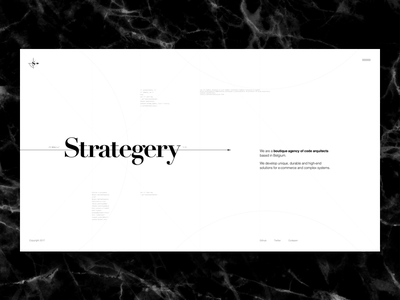 Strategery - Landing fibonacci template graphic design typography golden ratio grid layout freebie bodoni fashion development agency