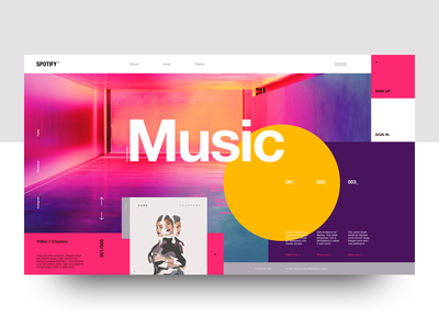 Spotify Thingy Concept mondrianizm landing concept minimal web design layout clean interface spotify flat music ui